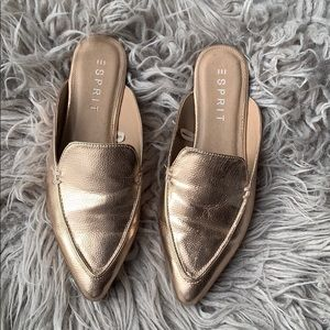 Esprit rose gold metallic mules